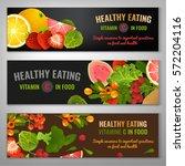 vitamin c in food. beautiful... | Shutterstock .eps vector #572204116