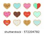 set of valentine heart shaped... | Shutterstock .eps vector #572204782