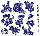 hibiscus flower illustration   Shutterstock .eps vector #572208076