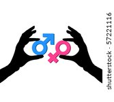 man's and female symbols on a... | Shutterstock .eps vector #57221116