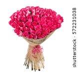 flower bouquet of 100 pink roses | Shutterstock . vector #572231038