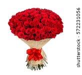 flower bouquet of 100 red roses   Shutterstock . vector #572231056