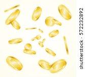 realistic golden coin falling... | Shutterstock .eps vector #572232892