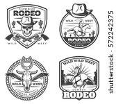 monochrome vintage rodeo... | Shutterstock .eps vector #572242375
