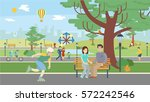 fun in the park. happy citizens ... | Shutterstock .eps vector #572242546