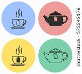 tea vector icons set. black... | Shutterstock .eps vector #572243176