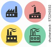 factory vector icons set. black ... | Shutterstock .eps vector #572243332