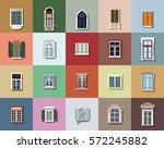 vector windows set flat design    Shutterstock .eps vector #572245882