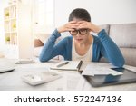 beauty asian stressed worried... | Shutterstock . vector #572247136