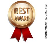 the best award gold badge with... | Shutterstock .eps vector #572253412
