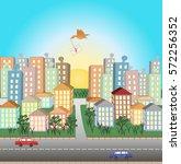 illustration of city  houses ... | Shutterstock .eps vector #572256352