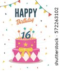 birthday greeting and... | Shutterstock .eps vector #572263102