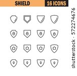 shield flat icon set.... | Shutterstock .eps vector #572274676