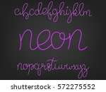 neon font. script alphabet with ... | Shutterstock .eps vector #572275552