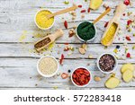superfoods and healthy food on... | Shutterstock . vector #572283418