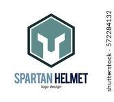 spartan knight warrior hexagon... | Shutterstock .eps vector #572284132
