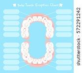 cute cartoon healthy baby tooth ... | Shutterstock .eps vector #572291242