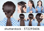 simple hairstyle ponytail with... | Shutterstock . vector #572293606