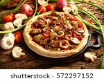 appetizing meal  pizza with... | Shutterstock . vector #572297152