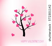 happy valentines day tree with... | Shutterstock .eps vector #572301142