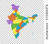 india map with federal states.... | Shutterstock .eps vector #572304376