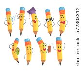 cute humanized pencil character ... | Shutterstock .eps vector #572308312