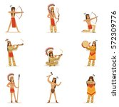 native american tribe members... | Shutterstock .eps vector #572309776