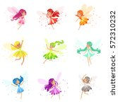 colorful rainbow set of cute... | Shutterstock .eps vector #572310232