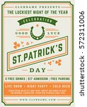 saint patrick's day retro... | Shutterstock .eps vector #572311006