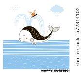 happy surfing  doodle kid design   Shutterstock .eps vector #572314102