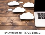 Cloud computing concept laptop...