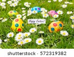painted colorful easter eggs in ...   Shutterstock . vector #572319382