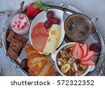 health breakfast.cup of coffee... | Shutterstock . vector #572322352