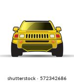 yellow color modern car or jeep ... | Shutterstock .eps vector #572342686