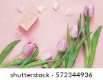 Pink Tulips  Hearts And Gift...