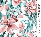 seamless pattern with spring... | Shutterstock . vector #572345935