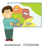 weatherman with weather... | Shutterstock .eps vector #572346358