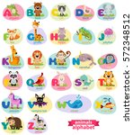 cute english illustrated zoo... | Shutterstock .eps vector #572348512