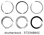 set of six cofee ring stains.... | Shutterstock .eps vector #572348842
