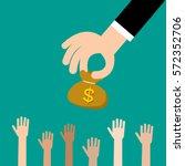 businessman giving money bag to ...   Shutterstock .eps vector #572352706