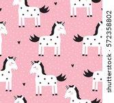 seamless cute unicorn pattern... | Shutterstock .eps vector #572358802