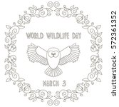 World wildlife day.Owl. Coloring for kids.   Shutterstock vector #572361352