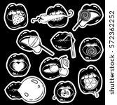set of female lips stickers ... | Shutterstock .eps vector #572362252