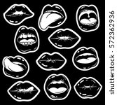 black and white funny set of...   Shutterstock .eps vector #572362936