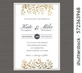 wedding invitation card... | Shutterstock .eps vector #572363968