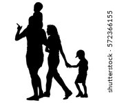 silhouette of happy family on a ... | Shutterstock .eps vector #572366155