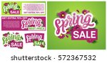 Spring sale banners poster tag design. Design with Colorful Flowers in Background for  Seasonal Promotion. Voucher template. Hand typography art. Vector illustration.