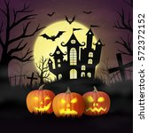 halloween pumpkins against the... | Shutterstock .eps vector #572372152