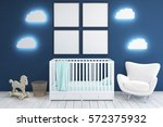 kid        s room with a crib ... | Shutterstock . vector #572375932