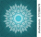 mandala card in turquoise ... | Shutterstock .eps vector #572388478